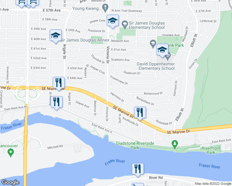 map of restaurants, bars, coffee shops, grocery stores, and more near 2031 Harrison Drive in Vancouver