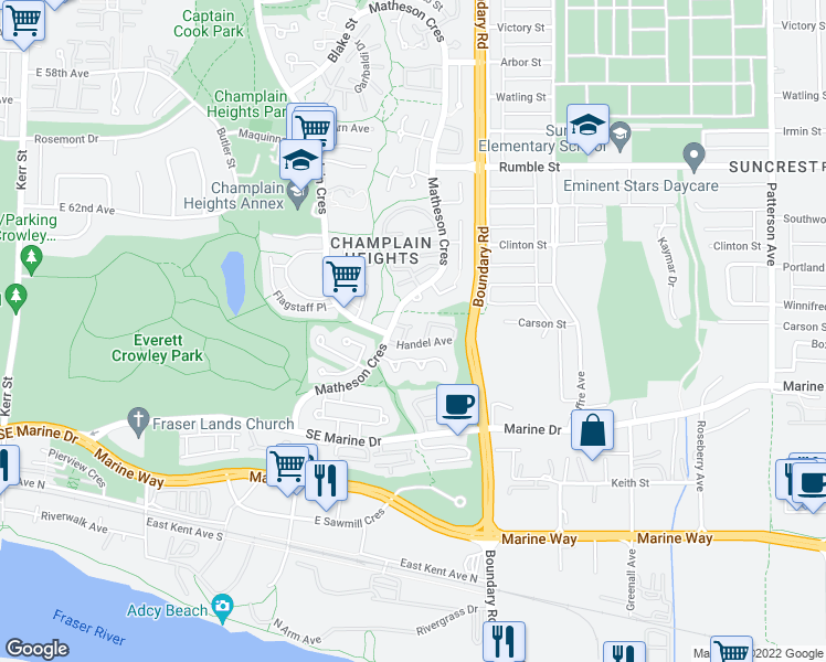 map of restaurants, bars, coffee shops, grocery stores, and more near 8227 Vivaldi Place in Vancouver