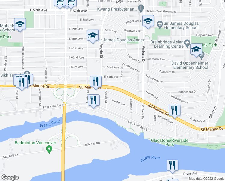 map of restaurants, bars, coffee shops, grocery stores, and more near 1746 Southeast Marine Drive in Vancouver