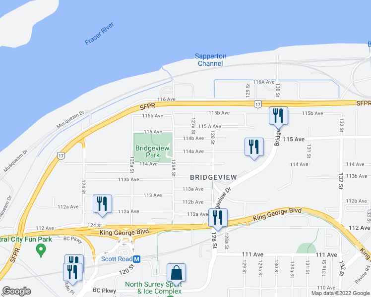 map of restaurants, bars, coffee shops, grocery stores, and more near 12711 114A Avenue in Surrey
