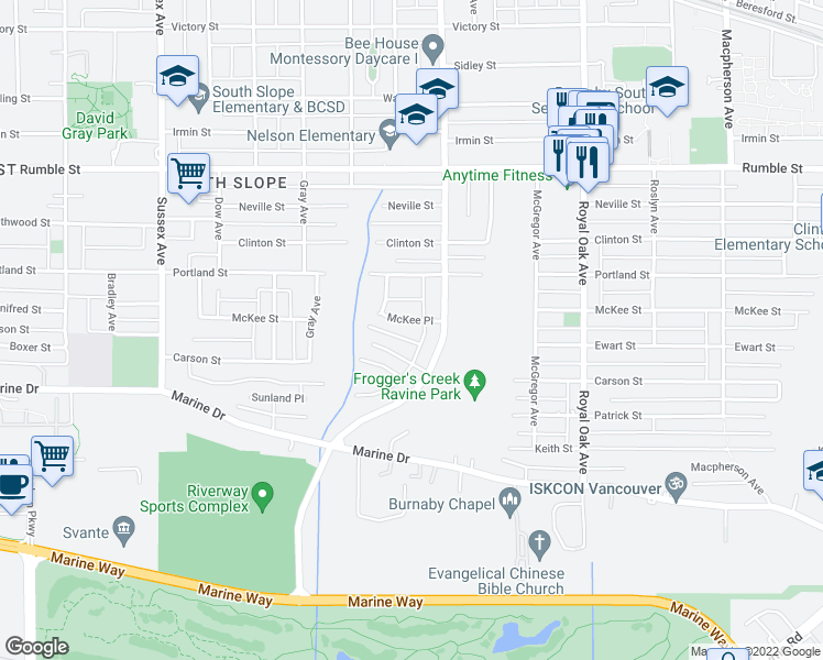 map of restaurants, bars, coffee shops, grocery stores, and more near 4870 McKee Place in Burnaby