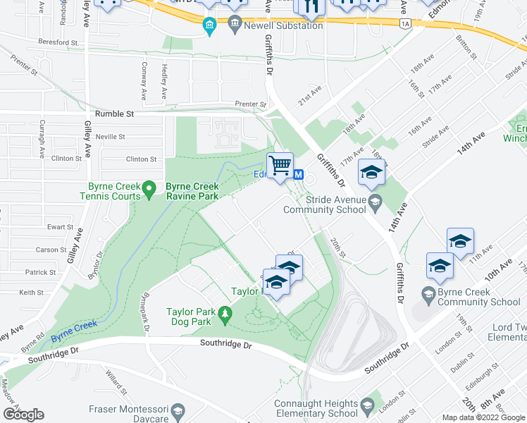 map of restaurants, bars, coffee shops, grocery stores, and more near 6838 Station Hill Drive in Burnaby