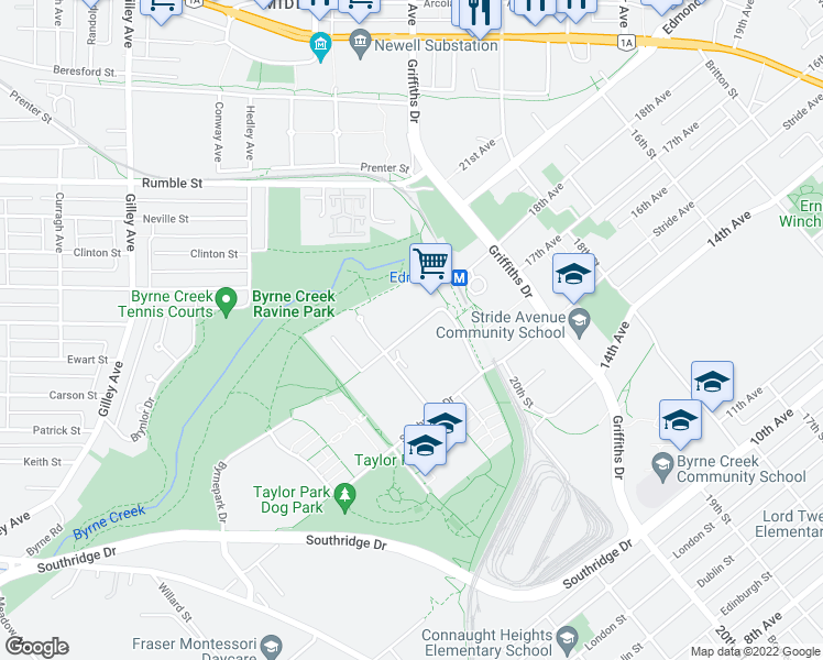 map of restaurants, bars, coffee shops, grocery stores, and more near 6833 Station Hill Drive in Burnaby
