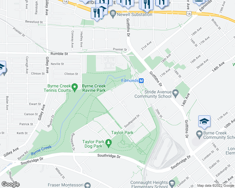 map of restaurants, bars, coffee shops, grocery stores, and more near 6823 Station Hill Drive in Burnaby