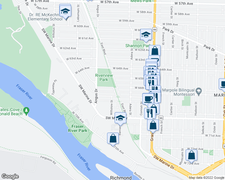 map of restaurants, bars, coffee shops, grocery stores, and more near 1706 West 66th Avenue in Vancouver