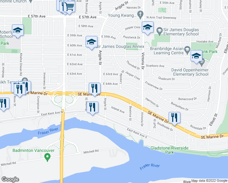 map of restaurants, bars, coffee shops, grocery stores, and more near 1787 Southeast Marine Drive in Vancouver