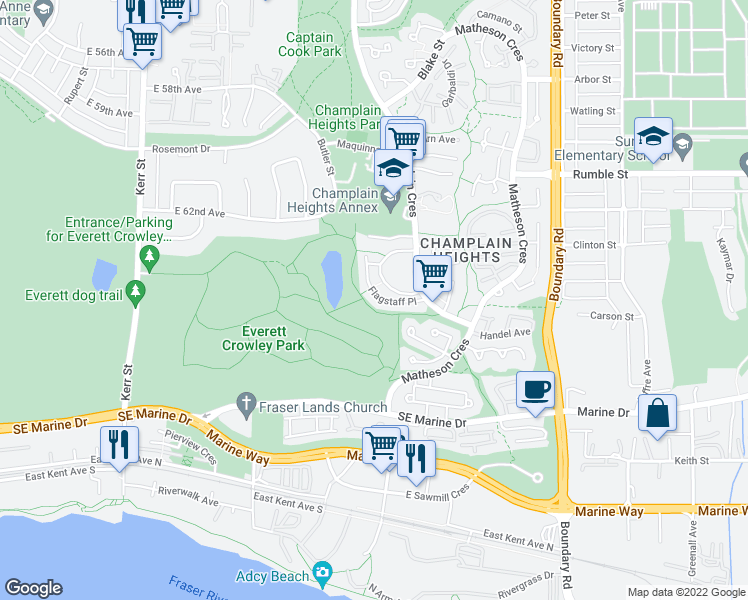 map of restaurants, bars, coffee shops, grocery stores, and more near 3347 Flagstaff Place in Vancouver