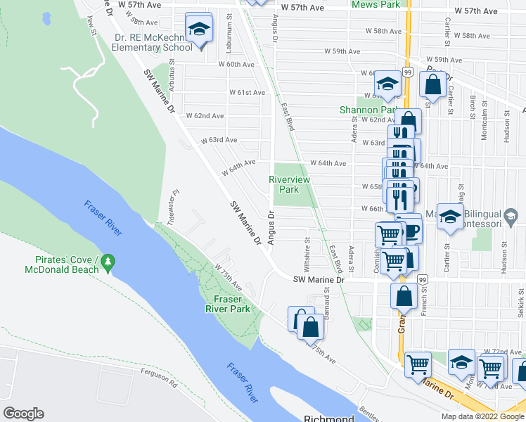 map of restaurants, bars, coffee shops, grocery stores, and more near 8295 Angus Drive in Vancouver