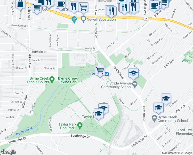 map of restaurants, bars, coffee shops, grocery stores, and more near 6837 Station Hill Drive in Burnaby