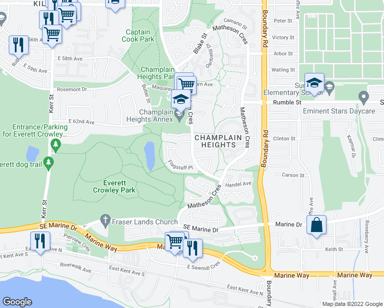 map of restaurants, bars, coffee shops, grocery stores, and more near 8025 Champlain Crescent in Vancouver