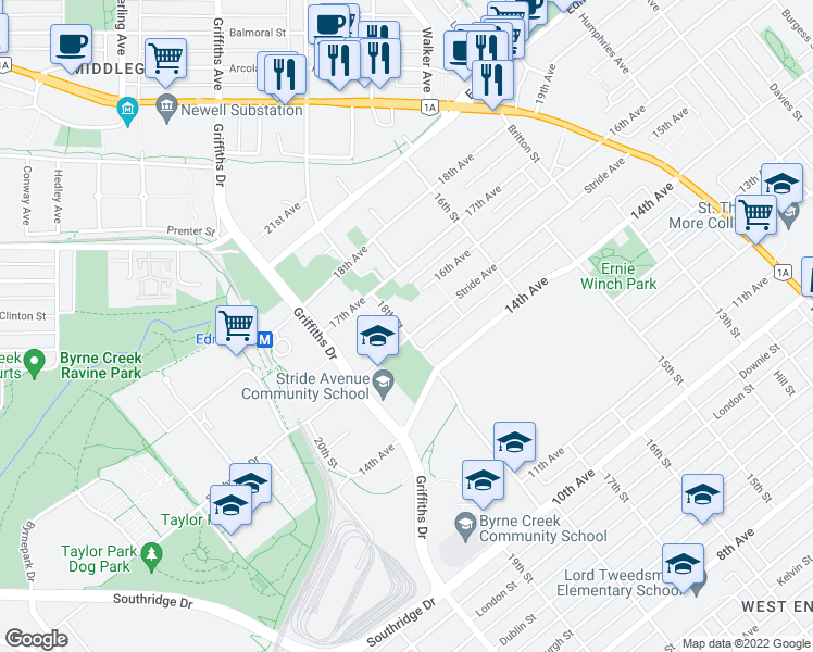 map of restaurants, bars, coffee shops, grocery stores, and more near 7520 18th Street in Burnaby