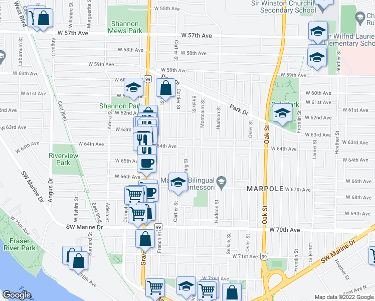 map of restaurants, bars, coffee shops, grocery stores, and more near 8020 Haig Street in Vancouver