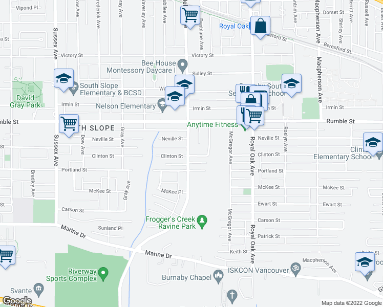 map of restaurants, bars, coffee shops, grocery stores, and more near 7790 Nelson Avenue in Burnaby