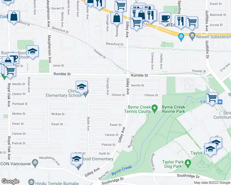 map of restaurants, bars, coffee shops, grocery stores, and more near 6165 Clinton Street in Burnaby