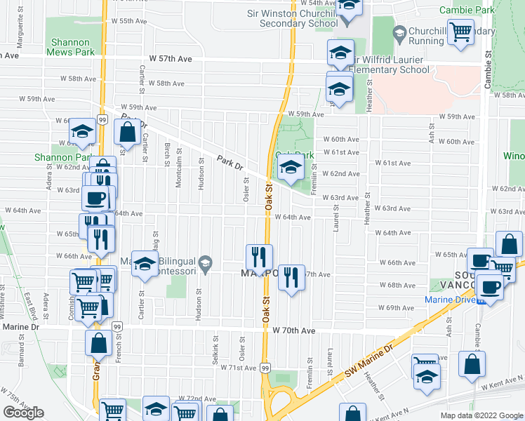 map of restaurants, bars, coffee shops, grocery stores, and more near 1019 West 64th Avenue in Vancouver