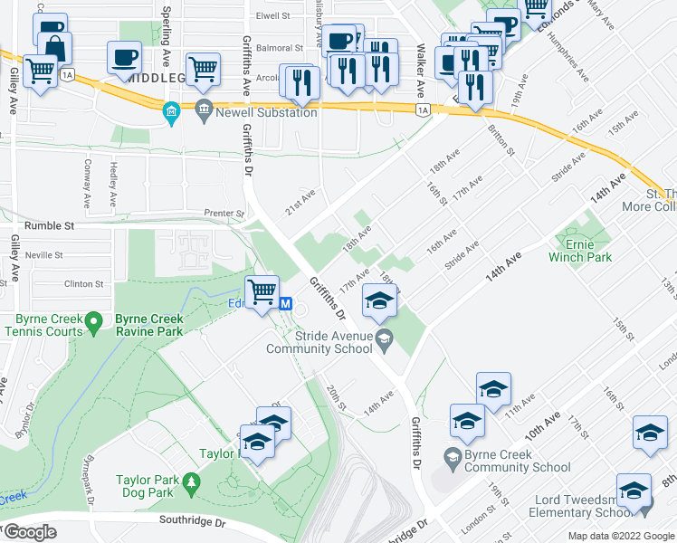 map of restaurants, bars, coffee shops, grocery stores, and more near 7088 18th Avenue in Burnaby