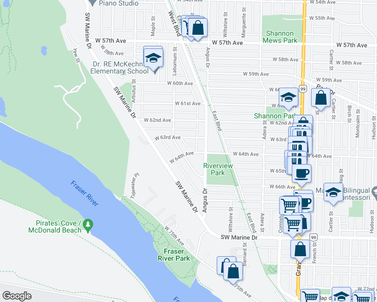 map of restaurants, bars, coffee shops, grocery stores, and more near 1869 West 64th Avenue in Vancouver