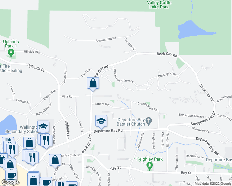 map of restaurants, bars, coffee shops, grocery stores, and more near 3231 Greystone Place in Nanaimo