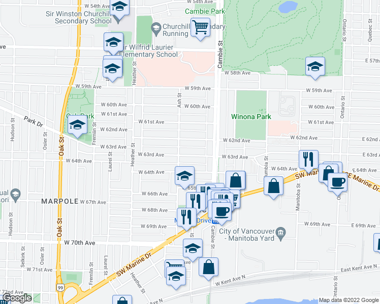 map of restaurants, bars, coffee shops, grocery stores, and more near 563 West 63rd Avenue in Vancouver