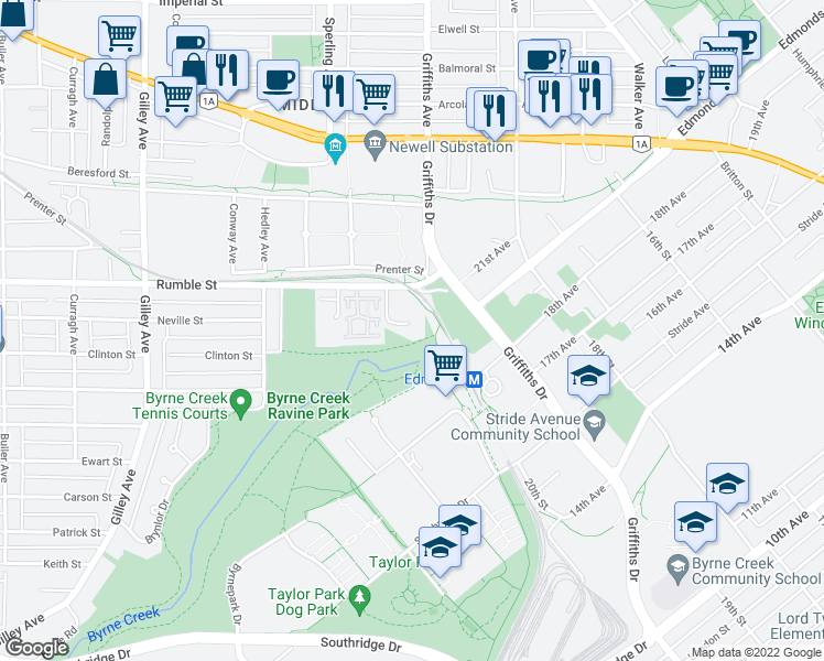 map of restaurants, bars, coffee shops, grocery stores, and more near 6860 Rumble Street in Burnaby