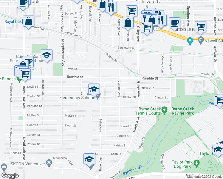 map of restaurants, bars, coffee shops, grocery stores, and more near 6026 Neville Street in Burnaby