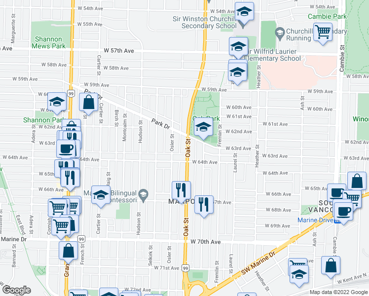 map of restaurants, bars, coffee shops, grocery stores, and more near 7923 Oak Street in Vancouver