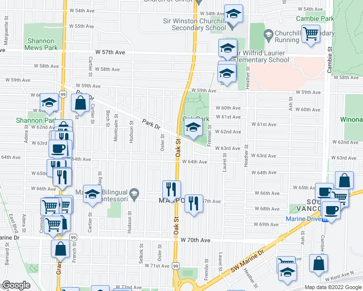 map of restaurants, bars, coffee shops, grocery stores, and more near 7862 Oak Street in Vancouver