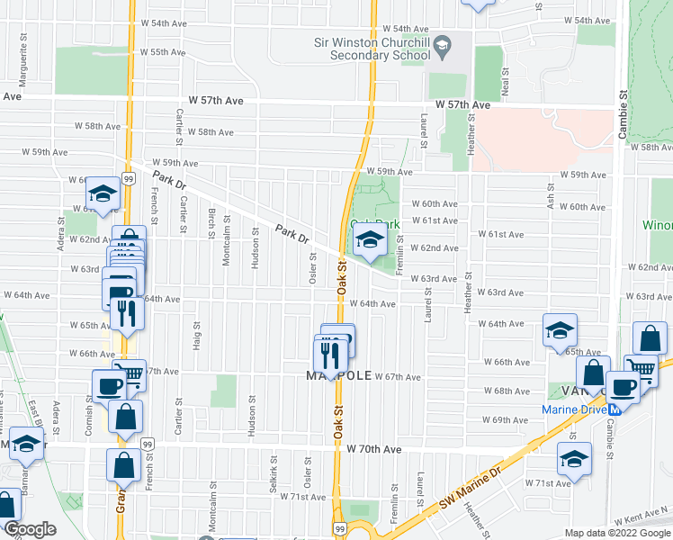 map of restaurants, bars, coffee shops, grocery stores, and more near 7861 Oak Street in Vancouver