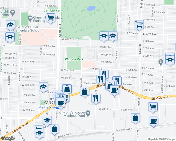map of restaurants, bars, coffee shops, grocery stores, and more near 258 West 62nd Avenue in Vancouver