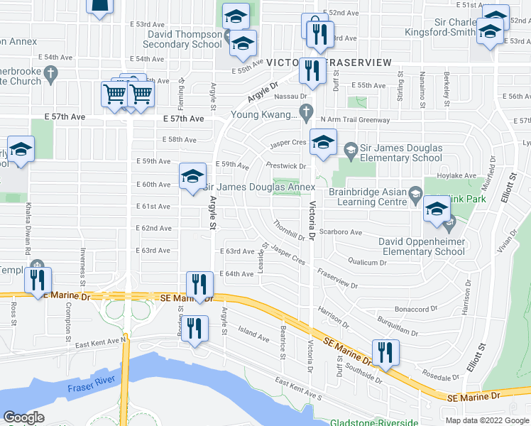 map of restaurants, bars, coffee shops, grocery stores, and more near 7705 Thornhill Drive in Vancouver