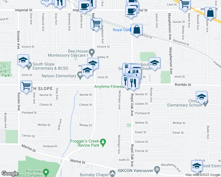 map of restaurants, bars, coffee shops, grocery stores, and more near 7632 Arthur Avenue in Burnaby