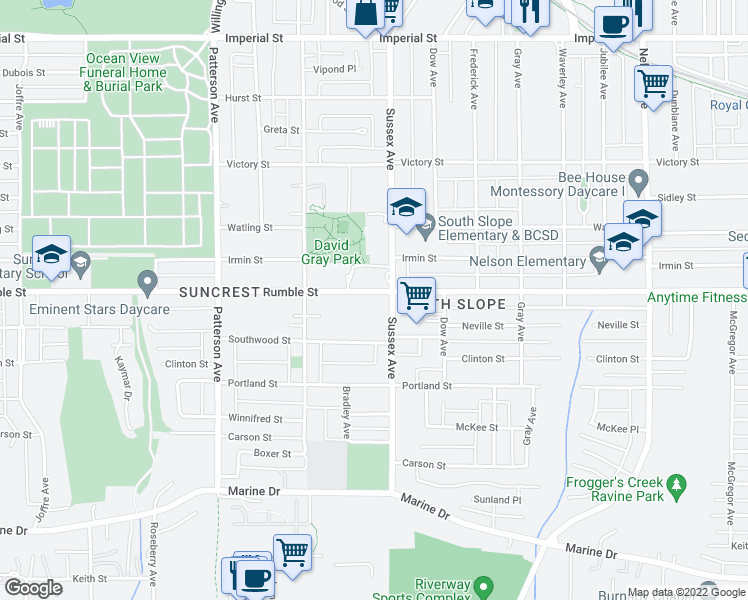 map of restaurants, bars, coffee shops, grocery stores, and more near 4390 Rumble Street in Burnaby