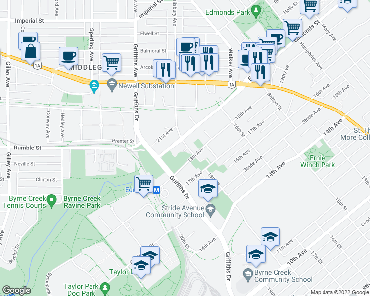 map of restaurants, bars, coffee shops, grocery stores, and more near 7331 18th Street in Burnaby
