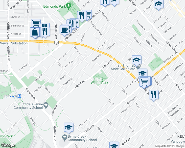 map of restaurants, bars, coffee shops, grocery stores, and more near 7283 14th Avenue in Burnaby