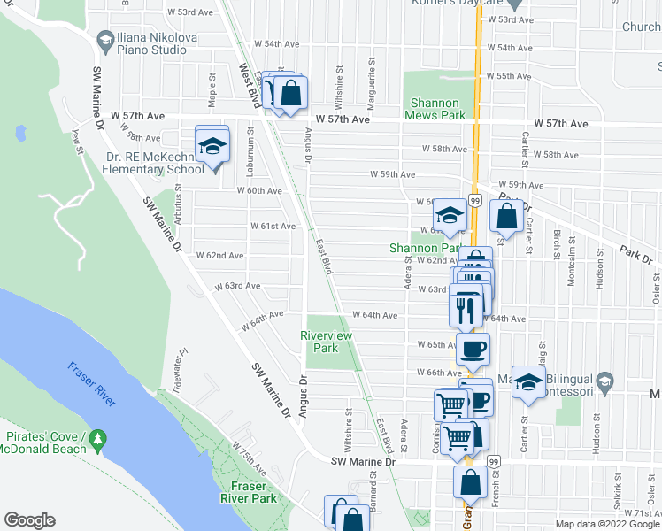 map of restaurants, bars, coffee shops, grocery stores, and more near 1790 West 62nd Avenue in Vancouver