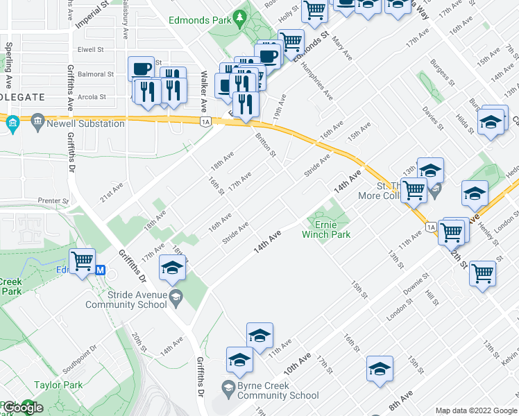 map of restaurants, bars, coffee shops, grocery stores, and more near 7229 Stride Avenue in Burnaby