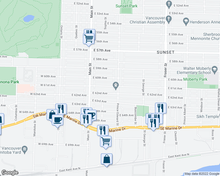 map of restaurants, bars, coffee shops, grocery stores, and more near 350 East 61st Avenue in Vancouver