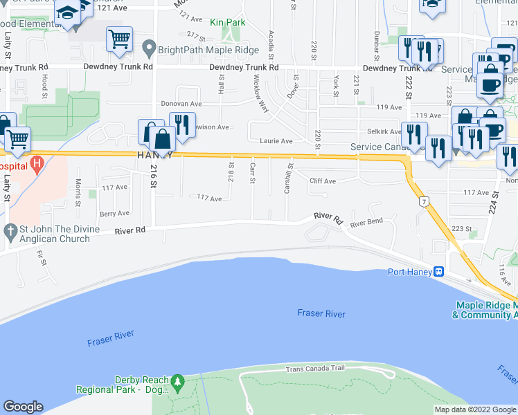 map of restaurants, bars, coffee shops, grocery stores, and more near 11690 Carr Street in Maple Ridge