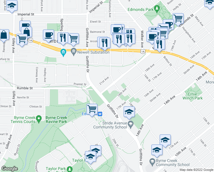 map of restaurants, bars, coffee shops, grocery stores, and more near 7071 Edmonds Street in Burnaby