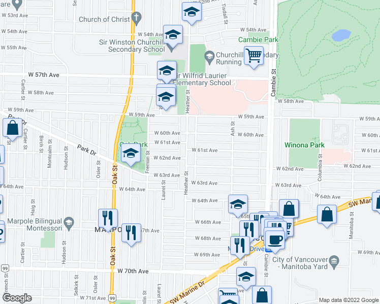 map of restaurants, bars, coffee shops, grocery stores, and more near 7708 Heather Street in Vancouver