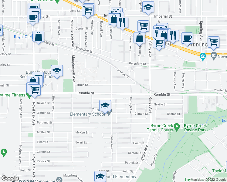 map of restaurants, bars, coffee shops, grocery stores, and more near 7568 Buller Avenue in Burnaby