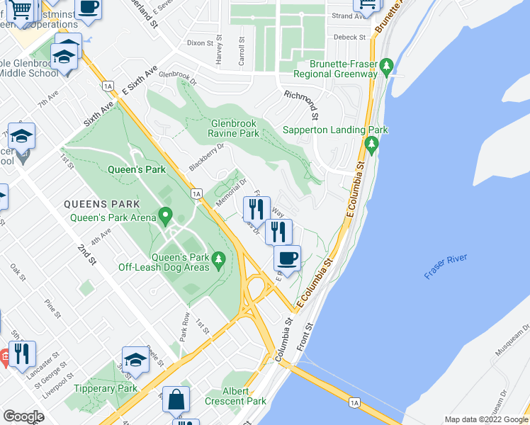 map of restaurants, bars, coffee shops, grocery stores, and more near 250 Francis Way in New Westminster