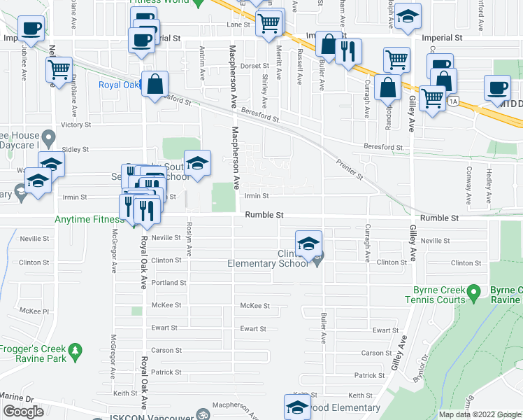 map of restaurants, bars, coffee shops, grocery stores, and more near 5675 Rumble Street in Burnaby