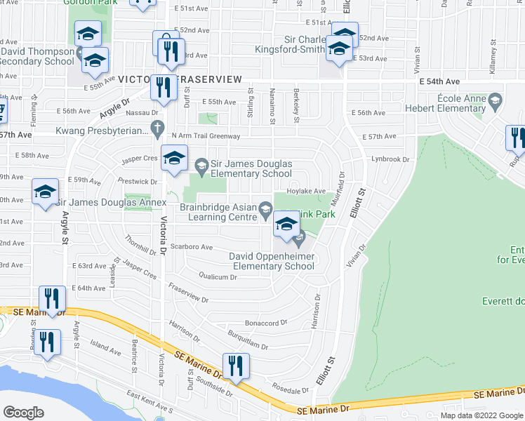 map of restaurants, bars, coffee shops, grocery stores, and more near 2288 Newport Avenue in Vancouver