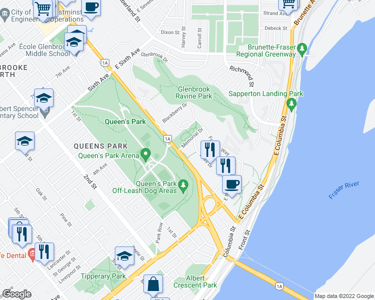 map of restaurants, bars, coffee shops, grocery stores, and more near 280 Ross Drive in New Westminster