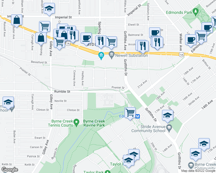 map of restaurants, bars, coffee shops, grocery stores, and more near 7413 Magnolia Terrace in Burnaby