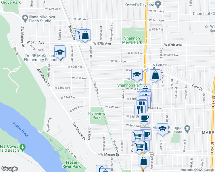 map of restaurants, bars, coffee shops, grocery stores, and more near 1689 West 62nd Avenue in Vancouver