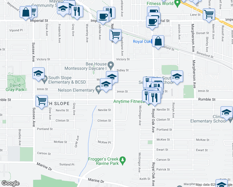 map of restaurants, bars, coffee shops, grocery stores, and more near 4922 Irmin Street in Burnaby