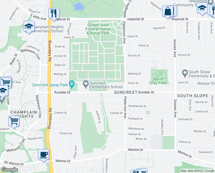 map of restaurants, bars, coffee shops, grocery stores, and more near 7550 Roseberry Avenue in Burnaby