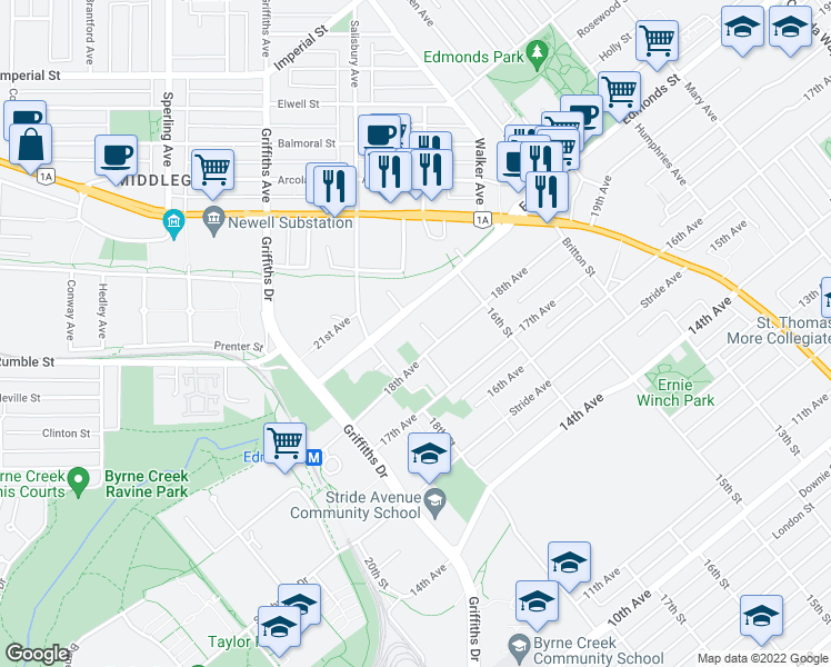 map of restaurants, bars, coffee shops, grocery stores, and more near 7139 18th Avenue in Burnaby